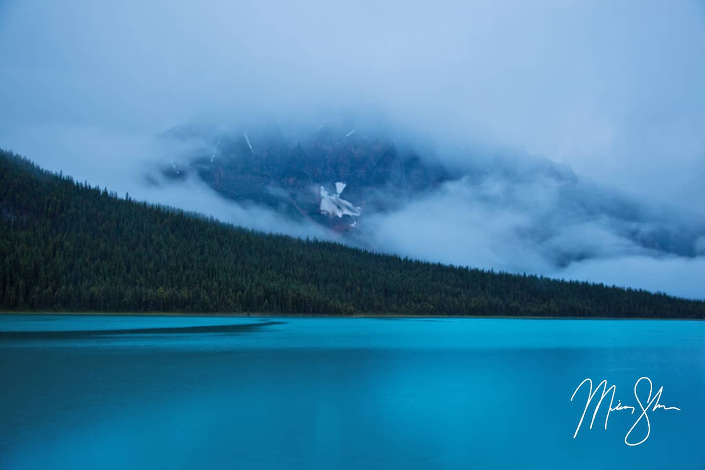 Waterfowl Lake Fog - Waterfowl Lake, Banff National Park, Alberta, Canada