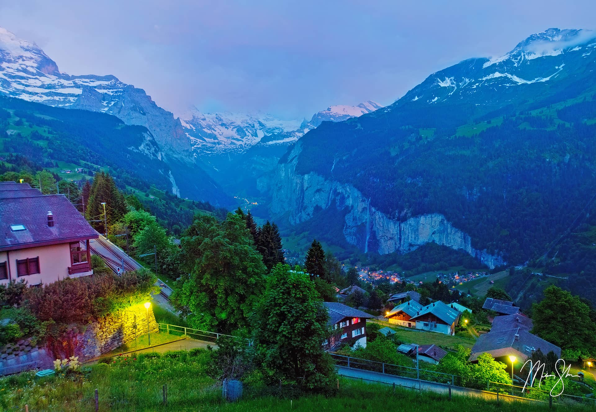 Open edition fine art print of Dusk In Wengen from Mickey Shannon Photography. Location: Wengen, Bernese Alps, Switzerland