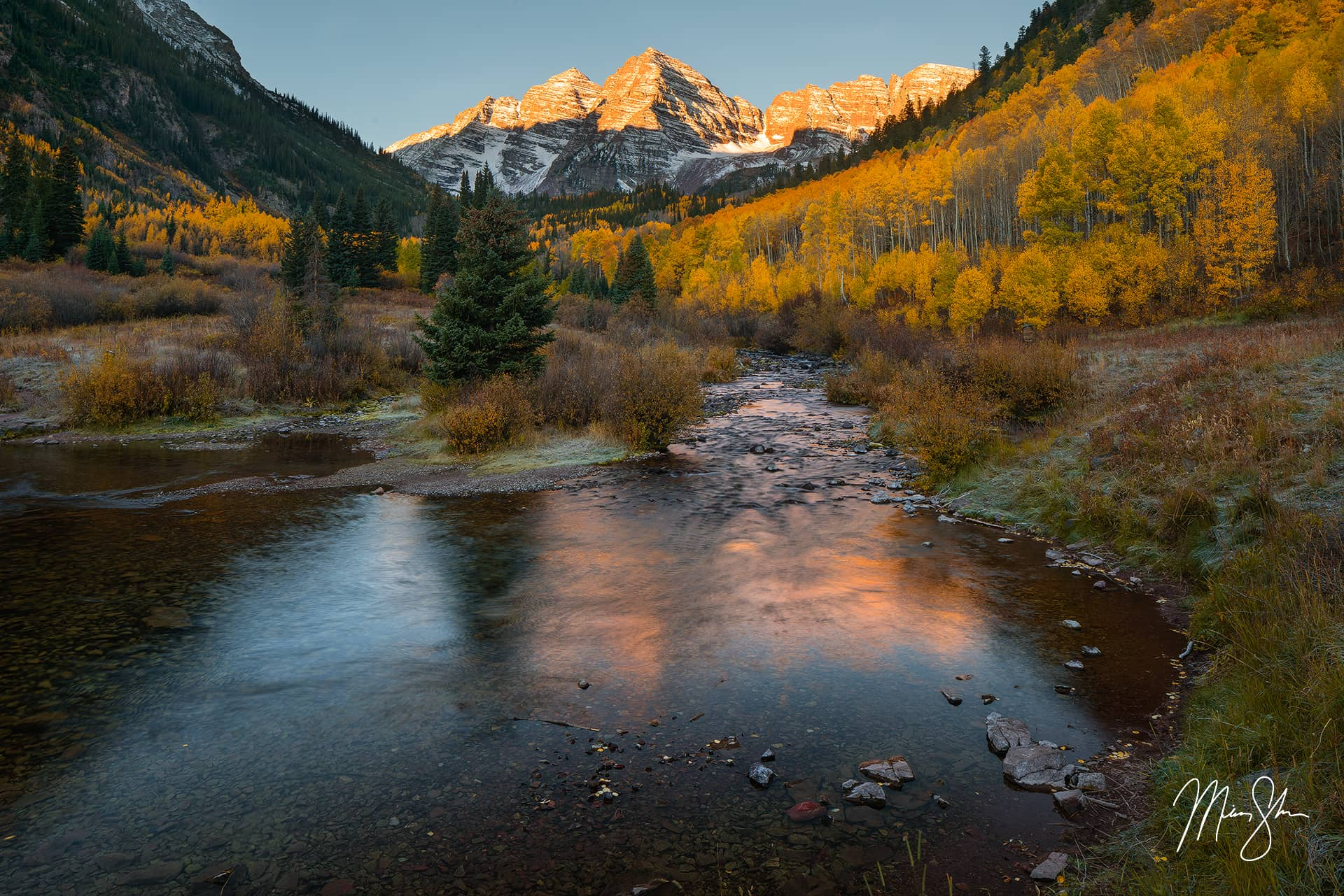 Open edition fine art print of Maroon Bells Autumn Sunrise from Mickey Shannon Photography. Location: Maroon Bells, Aspen, Colorado