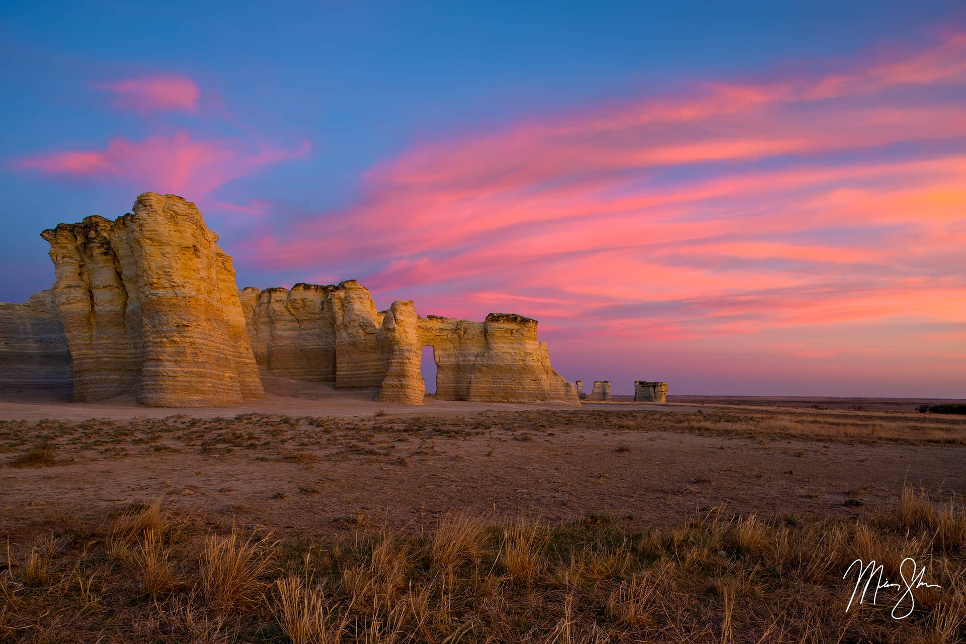 Open edition fine art print of Monument Rocks Sunset from Mickey Shannon Photography. Location: Monument Rocks, Kansas