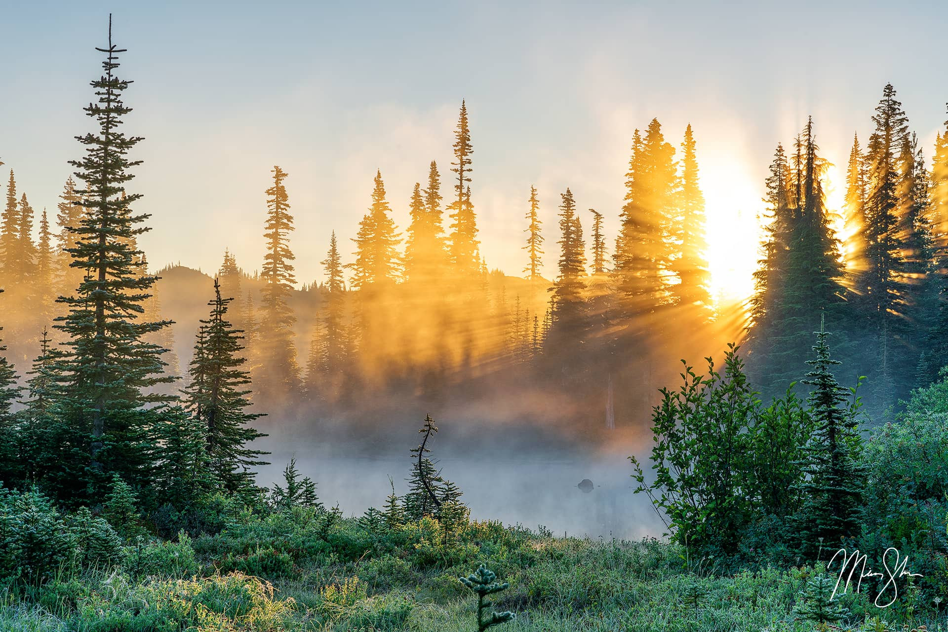 Limited edition luxury fine art print of Mount Rainier sunrise in Washington from Mickey Shannon Photography. Titled Sunbeam Sunrise.